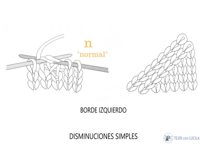 disminuciones simples borde izquierdo