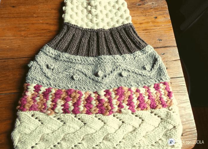 poncho tejido puntos lanas