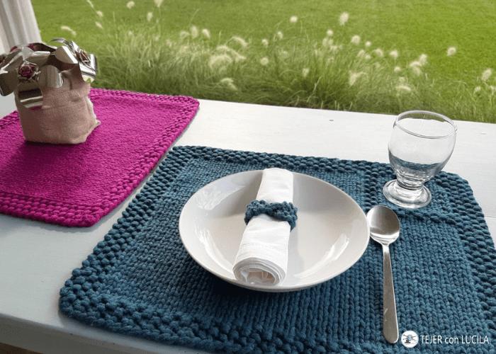 mantel individual tejer en colores