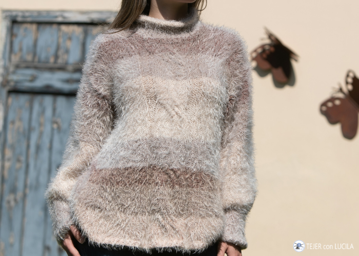 tejer sweater o jersey oversize mujer